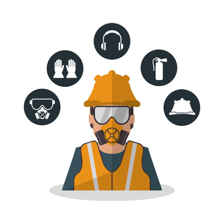 Avatar worker with mask icon. Industrial safety security and protection theme. Colorful design. Vector illustration