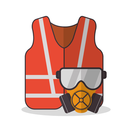 overhead: Jacket and glasses icon. Industrial safety security and protection theme. Colorful design. Vector illustration