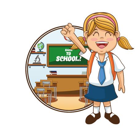 cartoon school girl: Girl cartoon and blackboard icon. Back to school theme. Colorful design. Vector illustration