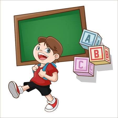 Boy cartoon and blackboard icon. Back to school theme. Colorful design. Vector illustration Illustration