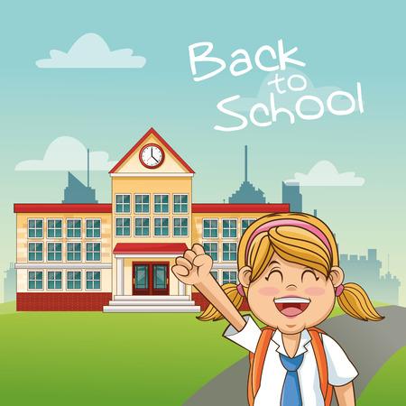 cartoon school girl: Girl cartoon and building icon. Back to school theme. Colorful design. Vector illustration