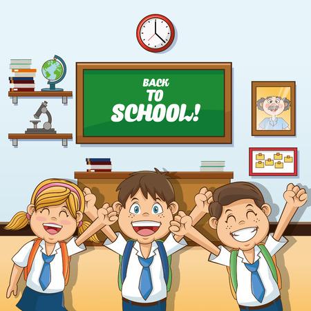 cartoon school girl: Girl abd boys cartoon and classroom icon. Back to school theme. Colorful design. Vector illustration