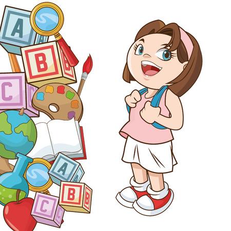 cartoon school girl: Girl cartoon icon. Back to school theme. Colorful design. Vector illustration