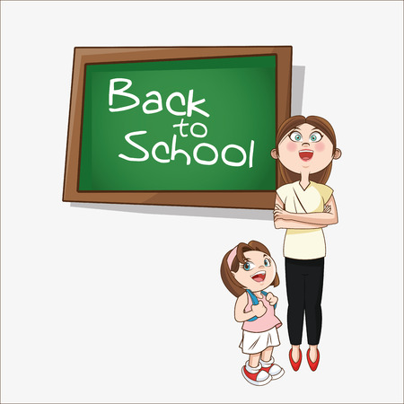 cartoon school girl: Girl cartoon teacher and blackboard icon. Back to school theme. Colorful design. Vector illustration