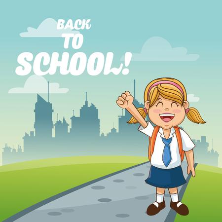 cartoon school girl: Girl cartoon and city icon. Back to school theme. Colorful design. Vector illustration