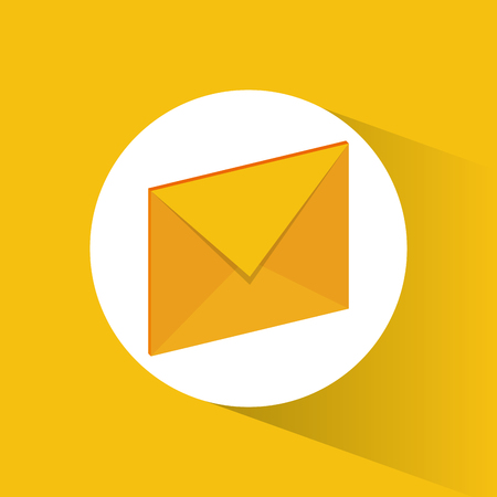 Yellow envelope icon. Email mail message letter and marketing theme. Colorful design. Vector illustration Illustration