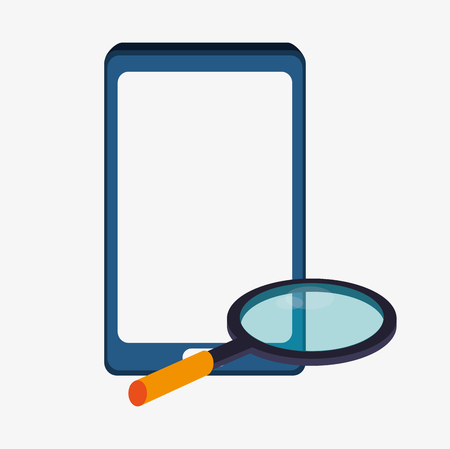 Smartphone and lupe icon. Big data center base and information theme. Colorful design. Vector illustration