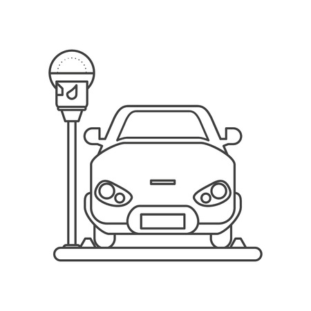 car vehicle and parking meter icon. Park space road street rule and area theme. Isolated design. Vector illustration Çizim