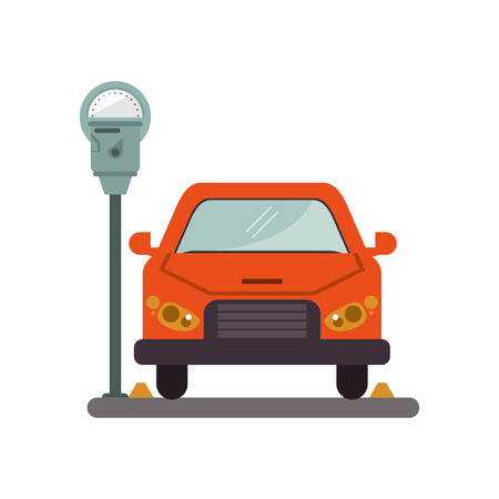restricted area sign: car vehicle and parking meter icon. Park space road street rule and area theme. Isolated design. Vector illustration Illustration