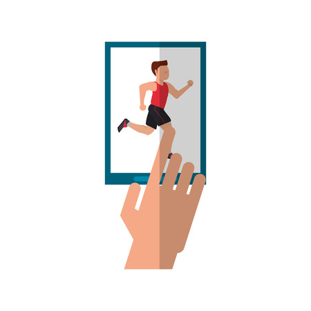 endurance run: Runner man and smartphone icon. Athlete training fitness and healthy lifestyle theme. Isolated design. Vector illustration