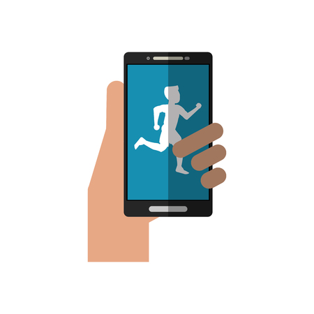 jogging park: Runner man and smartphone icon. Athlete training fitness and healthy lifestyle theme. Isolated design. Vector illustration