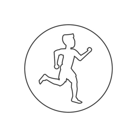 joggers: Runner man inside circle icon. Athlete training fitness and healthy lifestyle theme. Isolated design. Vector illustration
