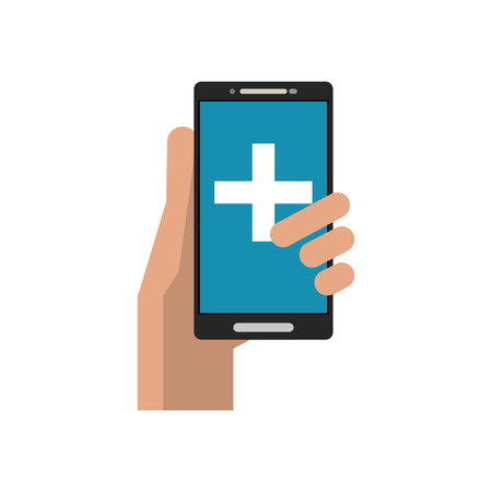 cross shape: Cross shape inside smartphone icon. Medical and health care theme. Isolated design. Vector illustration