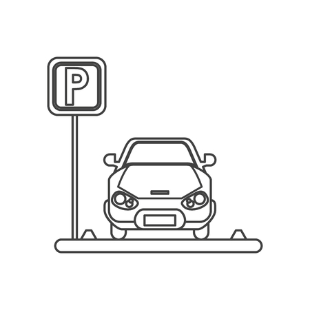 forbidden city: car vehicle and parking zone road sign icon. Park space road street rule and area theme. Isolated design. Vector illustration