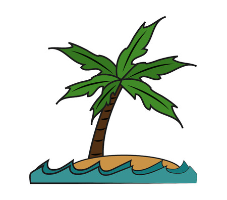 Palm tree icon. summer vacation beach and tropical theme. Isolated design. Vector illustration