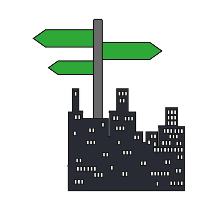 street sign: Road sign and buildings icon. City urban and information theme. Isolated design. Vector illustration