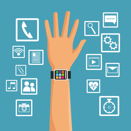 gadget: Smart watch and media apps icon set. Wearable technology gadget and application theme. Vector illustration