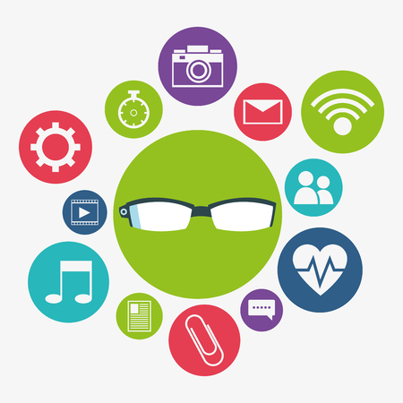 Glasses and media apps icon set. Wearable technology gadget and application theme. Vector illustration Stock Photo