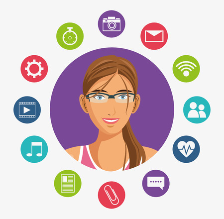 Girl cartoon glassses and media apps icon set. Wearable technology gadget and application theme. Vector illustration Stock Photo