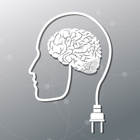 different thinking: Human head plug and brain icon. Big idea think different and creative theme. Vector illustration
