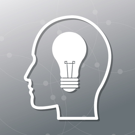 invent clever: Human head and light bulb icon. Big idea think different and creative theme. Vector illustration