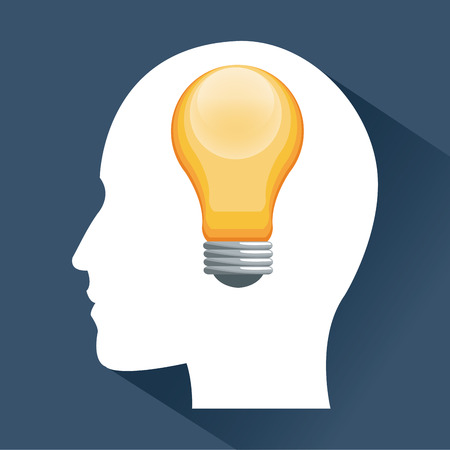 different thinking: Human head and light bulb icon. Big idea think different and creative theme. Vector illustration
