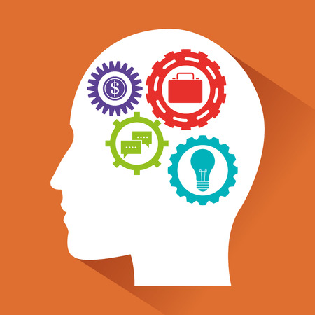 invent clever: Human head and icon set. Big idea think different and creative theme. Vector illustration Illustration