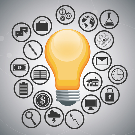 invent clever: Light bulb and  icon set. Big idea think different and creative theme. Vector illustration
