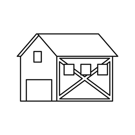 cultivated: Farm building icon. Stable nature rural farming theme. Isolated design. Vector illustration Illustration