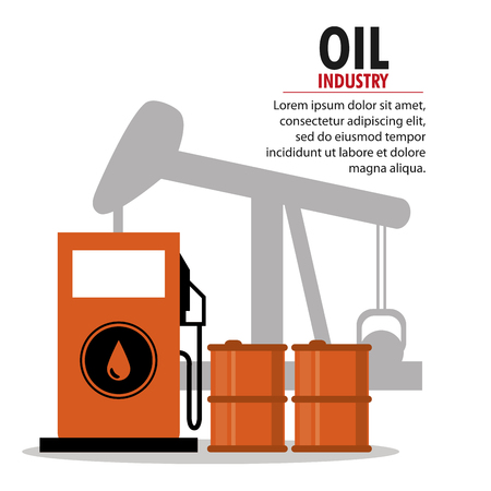 petrochemical: Gasoline pump and oil pump icon. Oil price industry fuel production and gasoline theme. Isolated design. Vector illustration