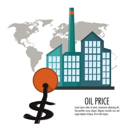 Factory buildings barrel and money icon. Oil price industry fuel production and gasoline theme. Isolated design. Vector illustration