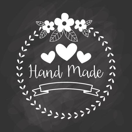 Hand Made label, handgemaakte ambachten workshop, vector illustratie