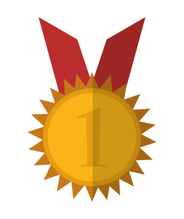 Gold medal icon. Winner competition success price and award theme. Isolated design. Vector illustration