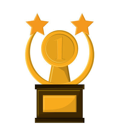 Gold trophy with star icon. Winner competition success price and award theme. Isolated design. Vector illustration Illustration