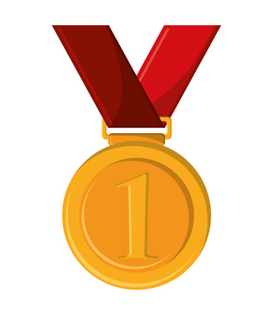 competitor: Gold medal icon. Winner competition success price and award theme. Isolated design. Vector illustration