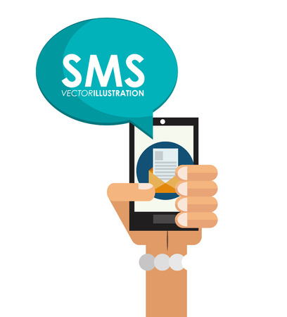 sms: Smartphone and sms icon. Email message marketing media and communication theme. Isolated design. Vector illustration