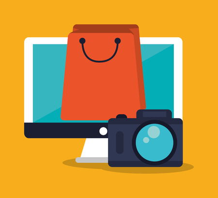 Computer bag and camera icon. Shopping online ecommerce media and market theme. Isolated design. Vector illustration Illustration