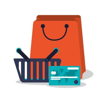 Smartphone credit card and bag icon. Shopping online ecommerce media and market theme. Isolated design. Vector illustration