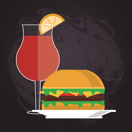 toasted sandwich: sandwich cocktail drink lunch snack icon. food and menu design. Colorful and flat illustration