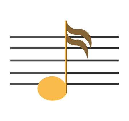 pentagramma musicale: Musica icona della nota. pentagramma melodia del suono e il tema musicale. progettazione isolata. illustrazione di vettore