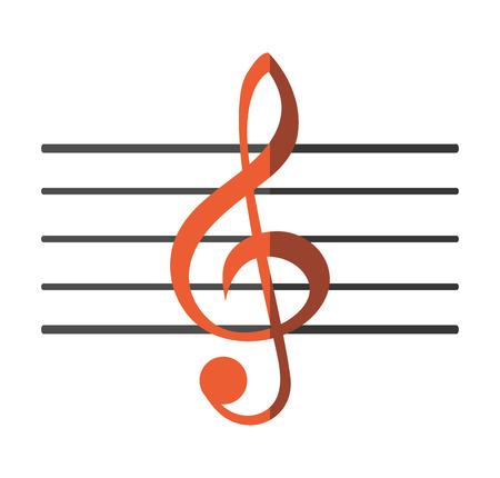 icono de nota musical. Sonido pentagrama la melodía y el tema musical. diseño aislado. ilustración vectorial