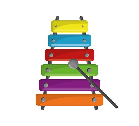 icona dello strumento xilofono. la musica la melodia del suono e il tema musicale. progettazione isolata. illustrazione di vettore