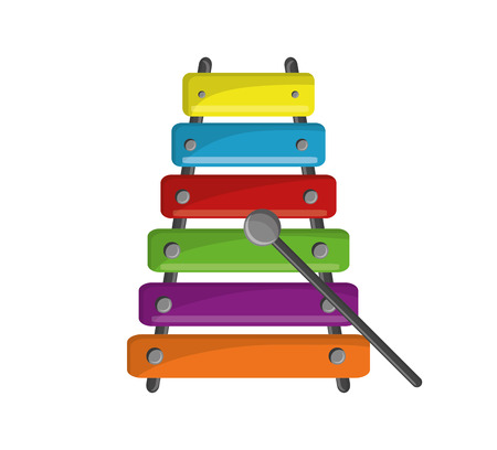 Xylophone instrument icon. music sound melody and musical theme. Isolated design. Vector illustration
