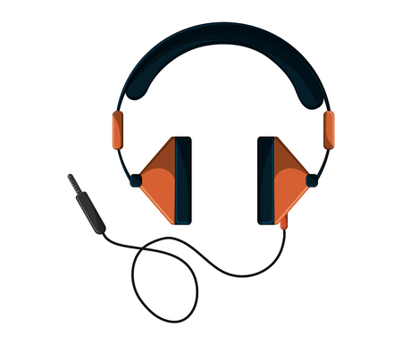 portable audio: Headphone device icon. Music sound audio and stereo theme. Isolated design. Vector illustration