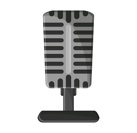 melody: Microphone icon. music sound melody and musical theme. Isolated design. Vector illustration