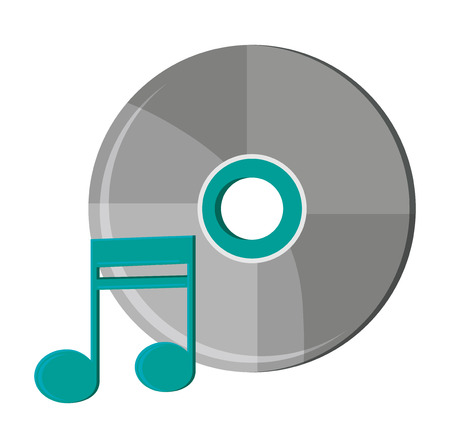 pentagrama musical: Music note and cd icon. Sound melody pentagram and musical theme. Isolated design. Vector illustration