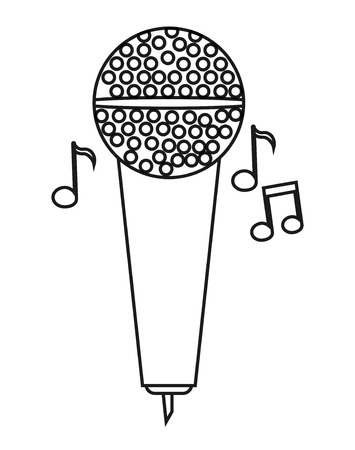 Microphone icon. music sound melody and musical theme. Isolated design. Vector illustration