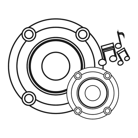 pentagramma musicale: La musica nota e icona dell'altoparlante. pentagramma melodia del suono e il tema musicale. progettazione isolata. illustrazione di vettore Vettoriali