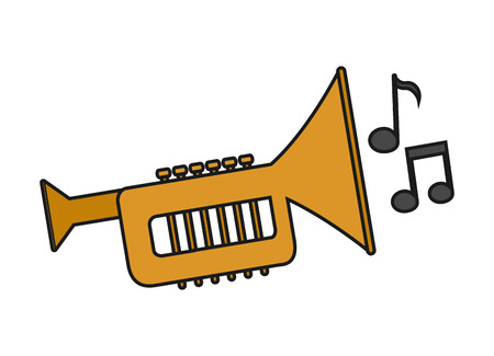 Music note and trumpet instrument icon. Sound melody pentagram and musical theme. Isolated design. Vector illustration
