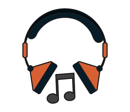 pentagramma musicale: Nota di musica e l'icona della cuffia. pentagramma melodia del suono e il tema musicale. progettazione isolata. illustrazione di vettore